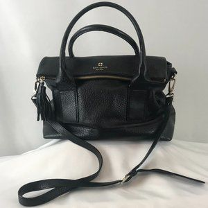Kate Spade Black Pebbled Leather Fold-Over Handbag